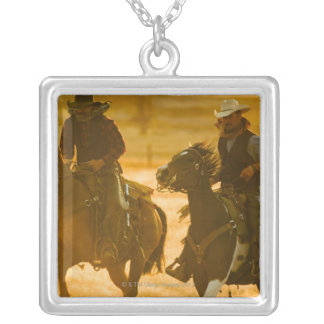 Horseback riders silver plated necklace