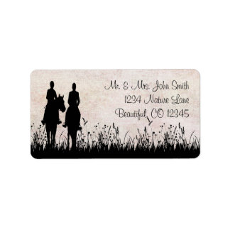 Horseback Riding Couple Equestrian  Address Label
