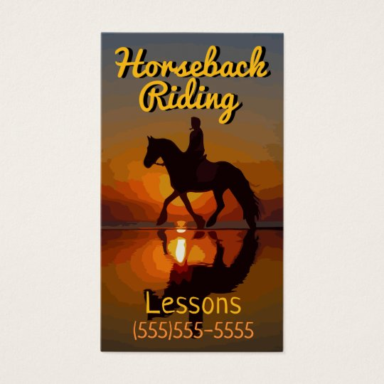 Horseback Riding Lessons. Horse Boarding.Trails Business Card
