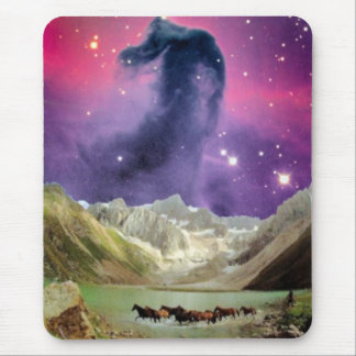 Horsehead Nebula over Running Horses Mouse Pad