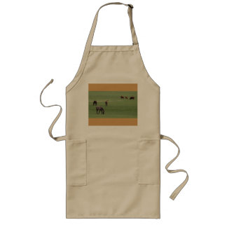 Horses and cattle grazing. long apron
