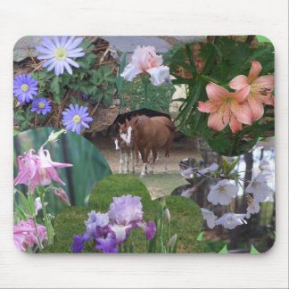 Horses and Flowers Collage Mousepad