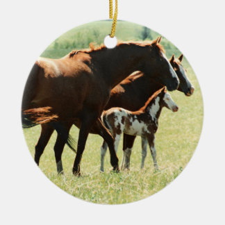 Horses and Foal Picture Round Ceramic Ornament