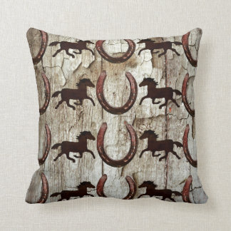 Horses and Horseshoes on Barn Wood Cowboy Gifts Throw Pillow