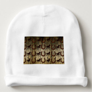 Horses and Horseshoes on Wood  backround Gifts Baby Beanie