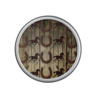 Horses and Horseshoes on Wood  backround Gifts Bluetooth Speaker