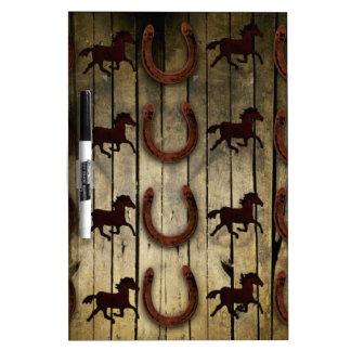 Horses and Horseshoes on Wood  backround Gifts Dry Erase Board