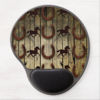 Horses and Horseshoes on Wood  backround Gifts Gel Mouse Pad