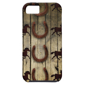 Horses and Horseshoes on Wood  backround Gifts iPhone 5 Covers