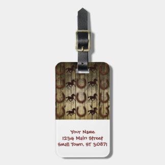 Horses and Horseshoes on Wood  backround Gifts Luggage Tag
