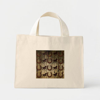 Horses and Horseshoes on Wood  backround Gifts Mini Tote Bag