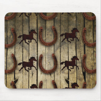 Horses and Horseshoes on Wood  backround Gifts Mouse Pad