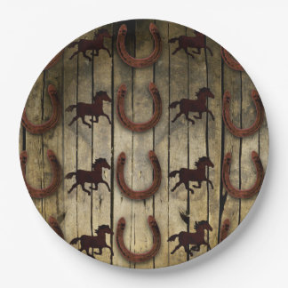 Horses and Horseshoes on Wood  backround Gifts Paper Plate