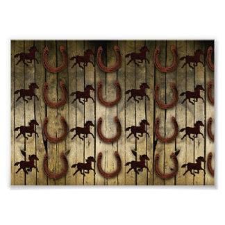 Horses and Horseshoes on Wood  backround Gifts Photo