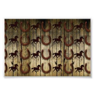 Horses and Horseshoes on Wood  backround Gifts Photo Art