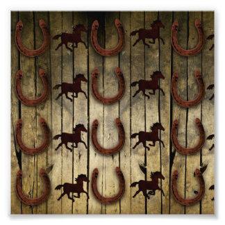 Horses and Horseshoes on Wood  backround Gifts Photograph