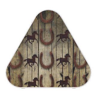 Horses and Horseshoes on Wood  backround Gifts Speaker