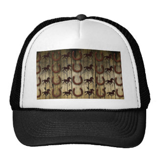 Horses and Horseshoes on Wood  backround Gifts Trucker Hat