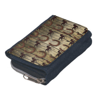 Horses and Horseshoes on Wood  backround Gifts Wallet