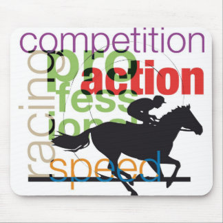 Horses and riders silhouettes mouse pad