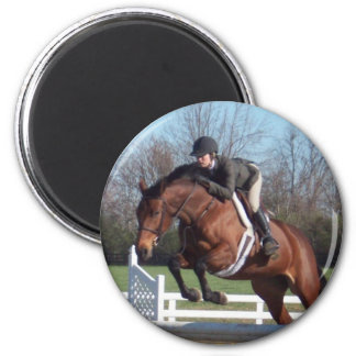 Horses and Show Jumping Round Magnet