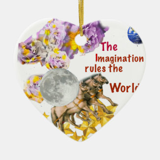 Horses are giving back the Moon to the Earth. Ceramic Ornament