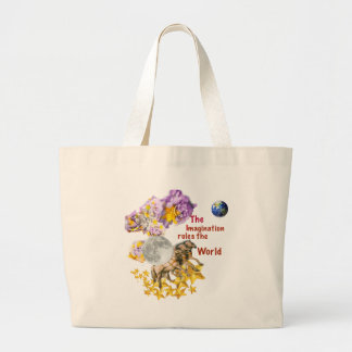 Horses are giving back the Moon to the Earth. Large Tote Bag