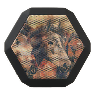 Horses Artistic Watercolor Painting Decorative Black Bluetooth Speaker