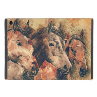 Horses Artistic Watercolor Painting Decorative Cases For iPad Mini