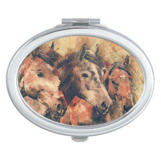 Horses Artistic Watercolor Painting Decorative Compact Mirror