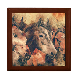 Horses Artistic Watercolor Painting Decorative Gift Box