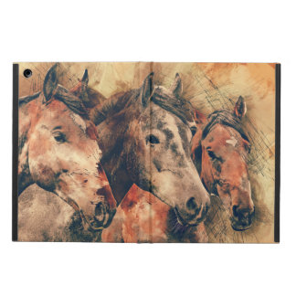 Horses Artistic Watercolor Painting Decorative iPad Air Case