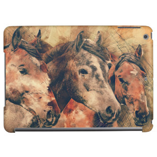 Horses Artistic Watercolor Painting Decorative iPad Air Cases