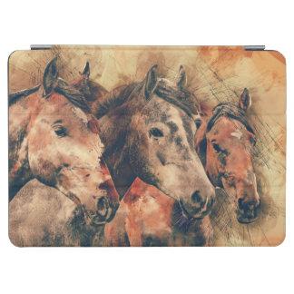 Horses Artistic Watercolor Painting Decorative iPad Air Cover