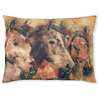 Horses Artistic Watercolor Painting Decorative Large Dog Bed
