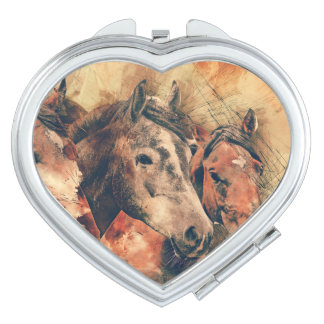 Horses Artistic Watercolor Painting Decorative Makeup Mirrors