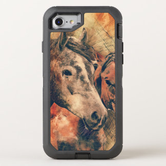 Horses Artistic Watercolor Painting Decorative OtterBox Defender iPhone 7 Case