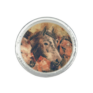 Horses Artistic Watercolor Painting Decorative Photo Rings