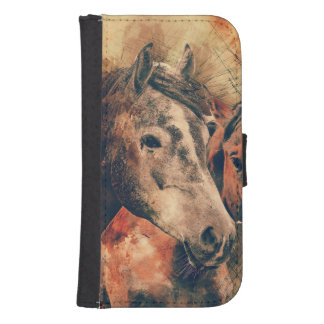Horses Artistic Watercolor Painting Decorative Samsung S4 Wallet Case