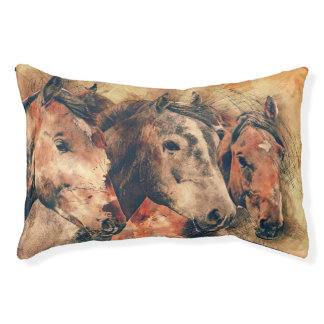 Horses Artistic Watercolor Painting Decorative Small Dog Bed