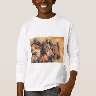 Horses Artistic Watercolor Painting Decorative T-Shirt
