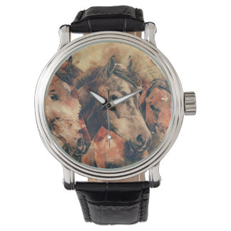 Horses Artistic Watercolor Painting Decorative Watch