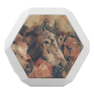 Horses Artistic Watercolor Painting Decorative White Bluetooth Speaker