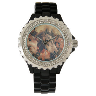 Horses Artistic Watercolor Painting Decorative Wrist Watch