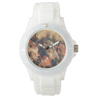 Horses Artistic Watercolor Painting Decorative Wrist Watches