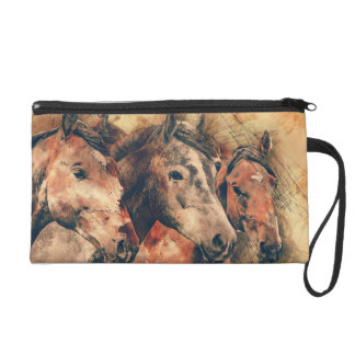 Horses Artistic Watercolor Painting Decorative Wristlet