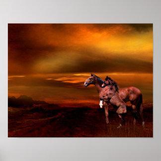 Horses at dusk poster