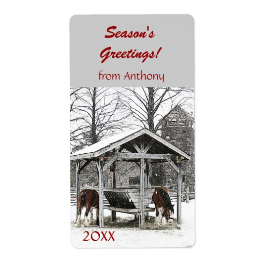 Horses at stable Season's Greetings wine label