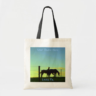 Horses at Sunset,  Tote. Add Your Store Name Budget Tote Bag