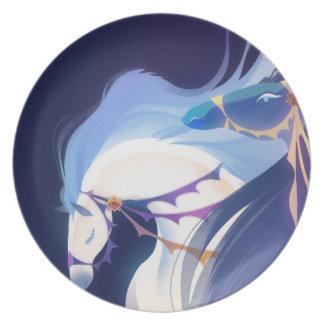 Horses - Blue Melamine plate